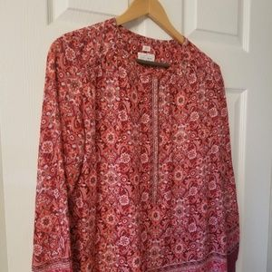 Loft Red Scarlet Bouquet Softened Shirt Small